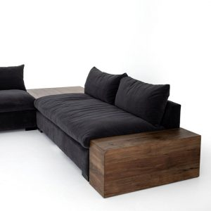 Grant Armless Sofa in Henry Charcoal
