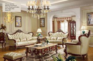 Italian Style Teak Wood Sofa Set for Living Area