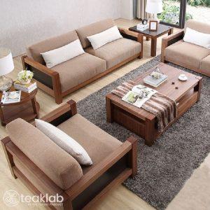Minimalist Wooden Sofa Set
