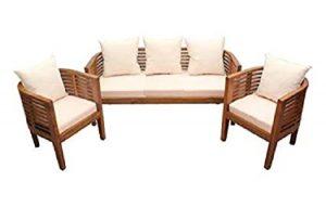 Pure Teak Wooden Round Shape Upholstered Sofa Set