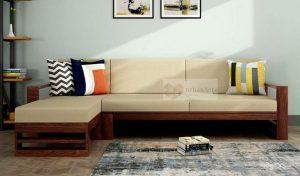 Wooden 6 Seater L Shape Sofa Set for Living Room